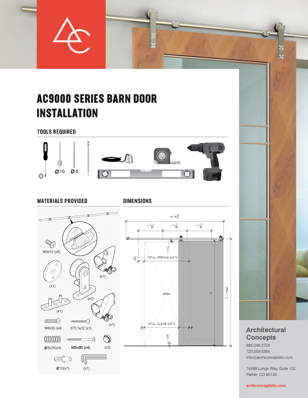 9000 Series Barn Door Installation Guide